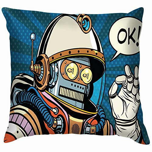 beautiful& Okay Retro Robot Astronaut Gesture Ok Science Technology Cotton Throw Pillow Case Cushion Cover Home Office Decorative, Square 18X18 Inch