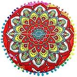 LuckyGirls Kissenbezug 43 x 43 cm Indische Mandala Boden Kissen runde böhmische Kissen Abdeckung (C)