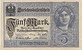 Deutsches Reich Rosenbg: 54c, 8stellige Kontrollnummer, Vs. grauviolett leicht gebraucht (II) 1917 5 Mark (Banknoten für Sammler)