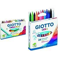 Giotto F076300 Turbo Maxi Pennarelli Punta Grossa 18 Pezzi, Multicolore & 282200 Pastelli A Cera In Astuccio Da 24…