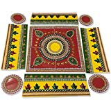 SBD Readymade Traditionally Beautifully Designed Square Shaped Rangoli Decorated With Artificial Pearls, Golden Lace & Red And Green Accents -17 Pieces Set - Packed In Crystal Box