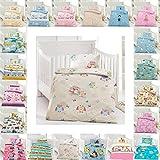 Kinder Bettwäsche 100 x 135 cm + Kissen 40 x 60 cm 100% Baumwolle mit Reißverschluss, Erhältlich mit verschiedenen Motiven - Kinderbettwäsche-Set, Babybettwäsche, bedruckter Bettbezug für Jungen & Mädchen - Eule Creme