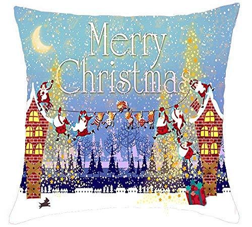FPDecor Dekorativ Kissenbezug, Merry Christmas Bells Snowman Listening to Music Cotton Linen Throw Pillow Covers Case Cushion Cover Sofa Decorative Square 18 x 18 inch