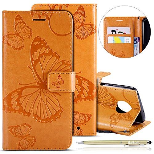 Herbests Kompatibel mit Leder Handy Schutzhülle Moto G6 Plus 2018 Lederhülle Schmetterling Muster Leder Handyhülle Handytasche Brieftasche Ledertasche Bookstyle Flip Case Cover Klapphülle,Gelb