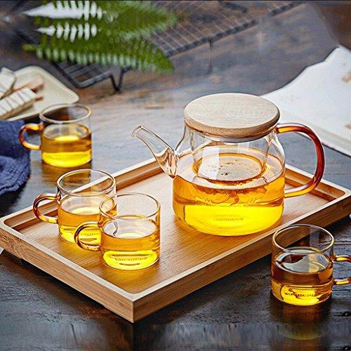 Théière en acier inoxydable de verre épaissie à haute température bouillie Théière filtre en verre de bouilloire (théière + 2 tasses + plateau de thé) GAODUZI ( Capacité : 750ml )
