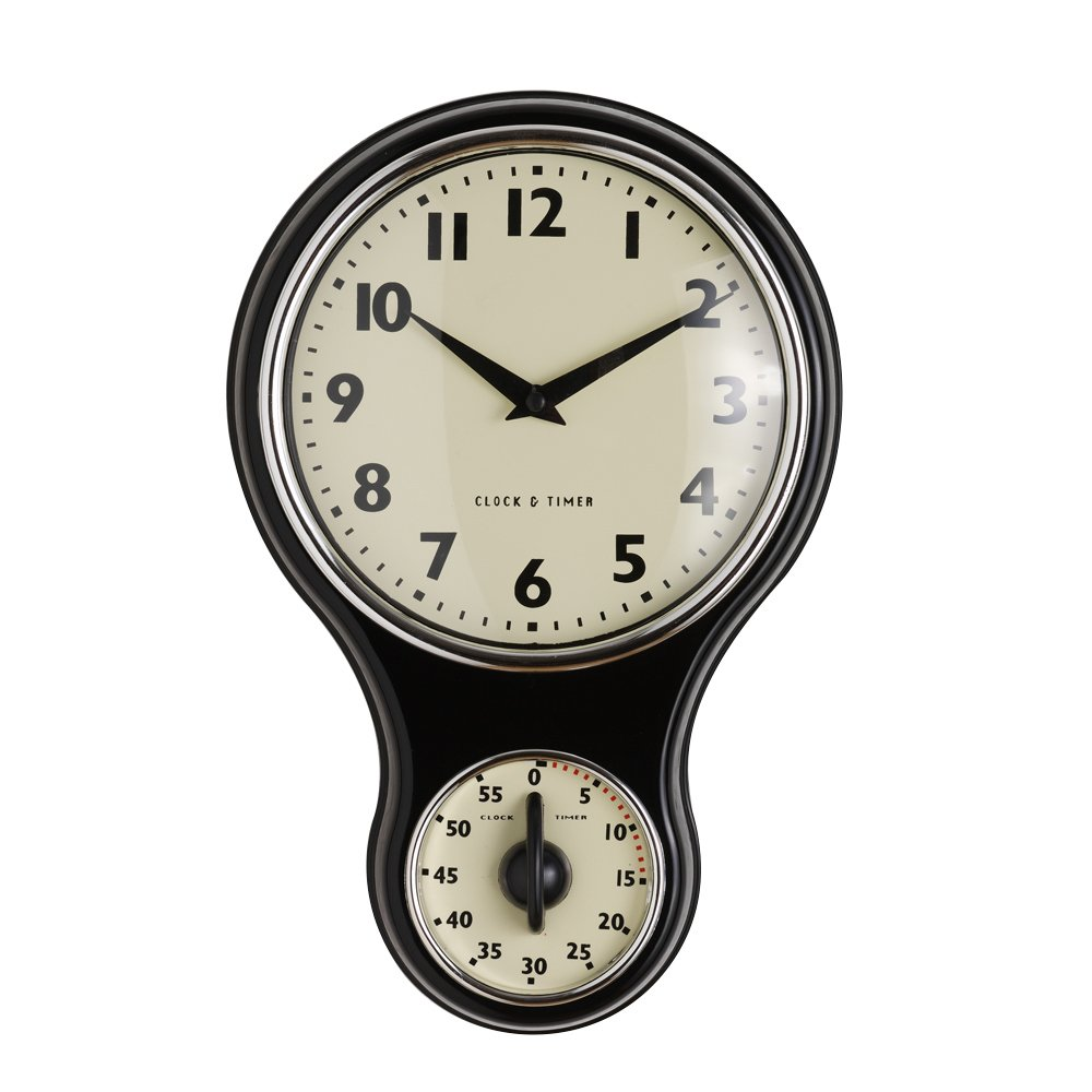 Good ProCook Retro Kitchen Clock U0026 Timer Black: Amazon.co.uk: Kitchen U0026 Home