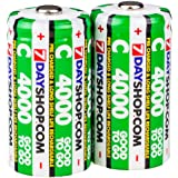 """7dayshop """"GOOD TO GO"""" C Cell Pre-Charged Long Life Rechargeable Batteries 4000mAh - 2 Pack"""