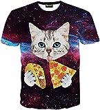 Pizoff Unisex Digital Print Schmale Passform T Shirts mit Katzen Cat 3D Muster, Y1625-25, L