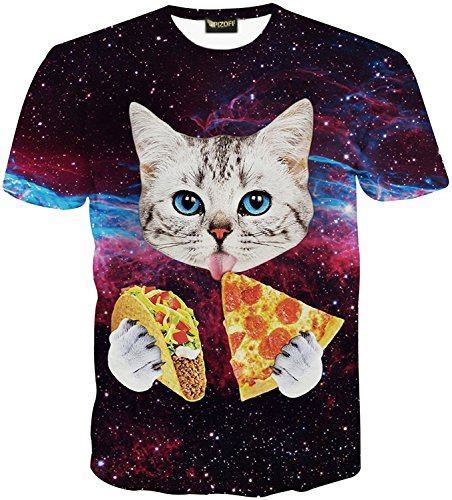 Pizoff Unisex Digital Print Schmale Passform T Shirts mit Katzen Cat 3D Muster, Y1625-25, Gr. L(EU-M) (Denim Shirt Katze)