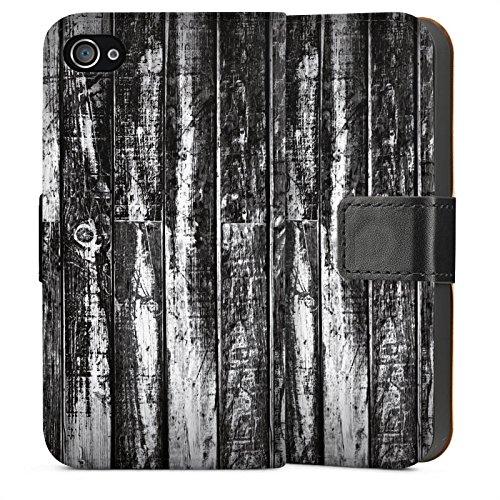 Apple iPhone 4 Housse Étui Silicone Coque Protection Bois Sol en bois noir blanc Look planches Sideflip Sac
