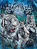 YISUMEI Decke 150x200 cm Kuscheldecken Sanft Flanell Weich Fleecedecke Bettüberwurf Weiße Tiger Blue Super Soft