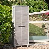 Schrank aus Kunststoff für draußen/drinnen, Holzimitation, Besenhalter Grey (grau)