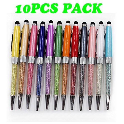 2PCS PACK Bling Bling Kristall Kugelschreiber Gold Teile mit Metall Clip und Geschenk-Boxen Gold Crystal Pen für Büro und Schule (10 - Geschenk-boxen 6 Zoll
