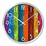 fwerq Étude de maison du mode Horloge murale ultra silencieux, à suspendre, Creative Rainbow Table de couleur du grain de bois Horloge à quartz, 12cm, C