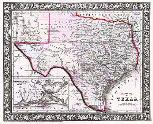1866 Antique Print (MAP ANTIQUE 1866 MITCHELL TEXAS STATE COUNTIES LARGE REPRO POSTER PRINT PAM1869)