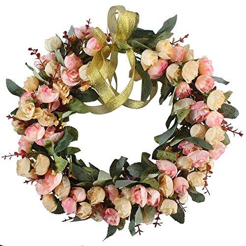 MIHOUNION Künstliche Rosen Kranz Türkranz Wandschmuck Hochzeit Dekokranz Seiden Kunstblumen Blütenkranz Hause Fensterbank Hängen oder Legen Ornament