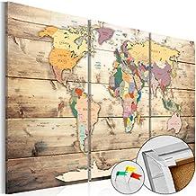 murando Cuadro - Tablero de corcho 120x80 cm - 3 tres colores a elegir - 3 Partes - Cuadro sobre corcho Poster Mapamundi Continente k-C-0035-p-f 120x80 cm