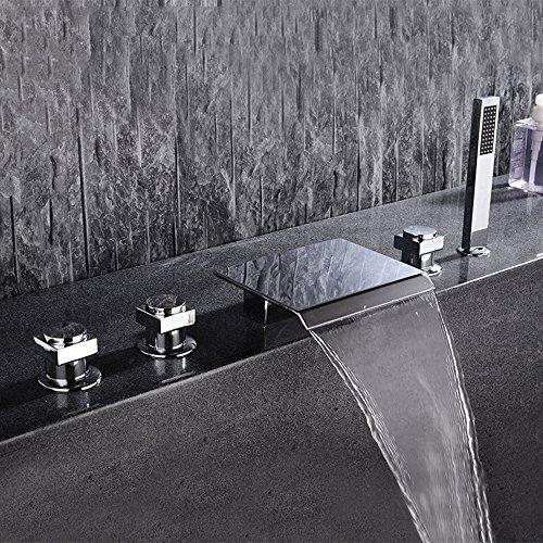 GAO® Wasserhahn badezimmer badewanne kupfer doppelgriff doppelsteuerung schwenker sitz badewannenrand badewanne wasserhahn fünf sätze von boden mischventil bad Wasserfall heißer und kalter Wasserhahn,Five,piece