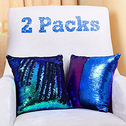 Mermaid cuscino cuscino con lustrini covers-yqing paillettes federa 40x 40 cm reversibile colore cangiante glitter fodere per cuscini per camera da letto divano ,2 pack (verde e viola)