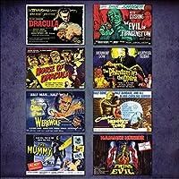 Hammer Horror Film Poster Kühlschrankmagnete - Set von 8 großen Kühlschrankmagnete No.2