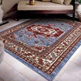 A2Z Rug Traditional Qashqai 5578 Stylish Collection Area Rugs, Blue 80x150 cm - 2'6 x 4'9 ft