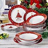VEWEET, serie Christmastree, 18 pezzi di stoviglie in porcellana, stoviglie di Natale, 6 piatti per zuppe 6 piatti per dessert 6 piatti per cena stoviglie per 6 persone