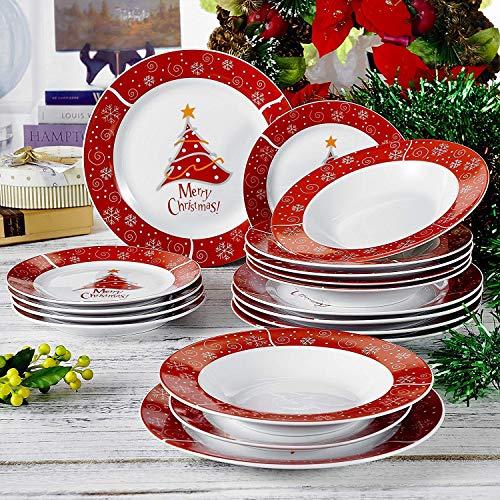 flirt geschirr weihnachten VEWEET, Serie Christmastree, Porzellan 18-teilig Tafelservice Set, Tellerset für Weihnachten