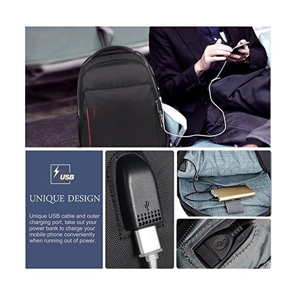 6134yjs9z L. SS600  - Vbiger - Mochila de trabajo multiusos de 15,6 pulgadas, bolsa bandolera para ordenador portátil, bolsa para estudiantes con bolsillo Frid, color negro