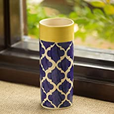 ExclusiveLane 'The Big-Straight Vase' Moroccan Handpainted in Ceramic (8 Inch) - Table Top Decorative Vases Flower Vases for Home Décor Flower Pots for Living Room