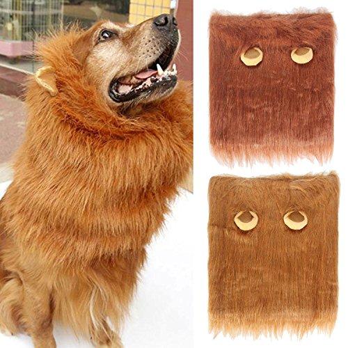 Pawaca Hund Löwe Mähne Hunde Perücke für Festival Party Kleidung Schals Kostüm, Lustige Löweperückenhaar für Große Oder Mittlere (Verkäufer Perücke Brown)