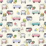 Fabulous Fabrics Halbpanama Digitaldruck VW Bus Roadmap -