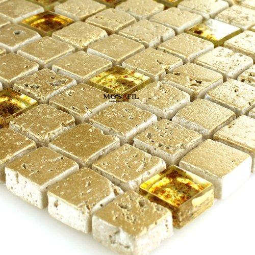 Glas Marmor Mosaik (Glas Marmor Mosaik Fliesen Gold Marmorglas Glasmosaik 15x15x8mm)