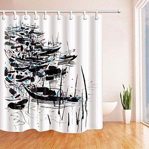 Renfengchui Abstrakte Tinte Malerei Dusche Vorhänge Asiatische Süße Holzboot In See Polyester Stoff Wasserdichtbad Dusche Vorhang 180 X 198 cm