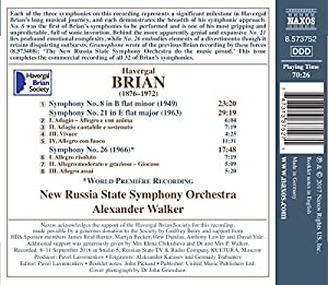 Havergal Brian: Symphonies Nos. 8, 21 & 26 [ Russia State Symphony Orchestra; Alexander Walker] [Naxos: 8573752] by Naxos
