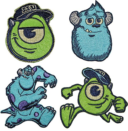 alles-meine.de GmbH 2 TLG. Set: Bügelbilder Disney Monster AG 6 cm * 7,6 cm - Aufnäher Applikation James P. Sulley Sullivan blaues Monster Kopf