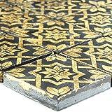 Keramik Feinsteinzeug Mosaik Fliese Blattgold Schwarz für Wandverkleidung Küchenrückwand WC Badezimmer Fliesenspiegel Vintage Retrofliesen Duschwand Bad
