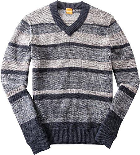 BOSS Orange Herren Pullover mit V-Ausschnitt Sweater Gestreift, Größe: XL, Farbe: Blau (Mit Alpaka-wolle V-ausschnitt Herren-pullover)