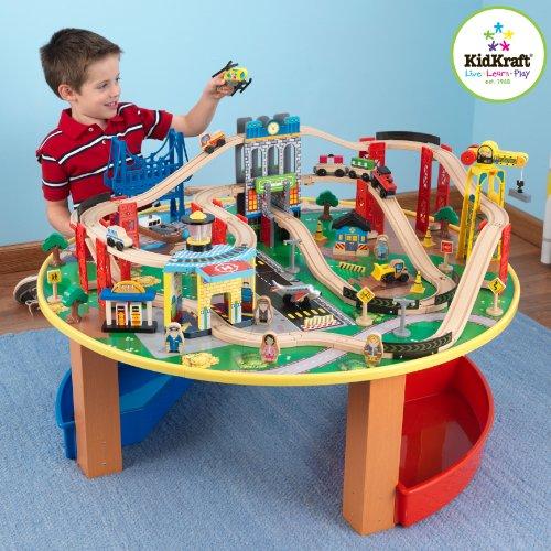 KidKraft 17985 Ensemble table circuit de train en bois City Explorer's, jouet enfant incluant bacs de rangement et plus de 80 pièces
