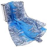 SALY Scialli Sciarpe di Seta Leggera Bella Stampa 100% Sciarpe di Seta per Le Donne, 3#