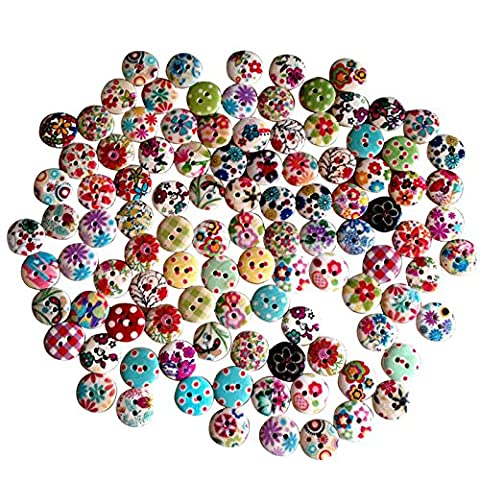 TRIXES 100 Buttons Mixed Assorted 15mm Colourful Floral Gingham Polka Dot Buttons Perfect for Sewing and Craft