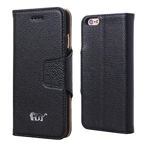Pdncase iPhone 6 Genuine Leder Tasche Case Hülle Wallet Schutzhülle für iPhone 6 Farbe Schwarz Schwarz