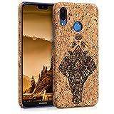 kwmobile Cover per Huawei P20 Lite - Back cover Case protettiva in sughero custodia rigida - Design Elefante etnico marrone scuro marrone chiaro