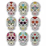A4 Sheet 9 x Sugar Skull Vinyl Stickers Laptop Car Bike Girls Gift Mexican #9723