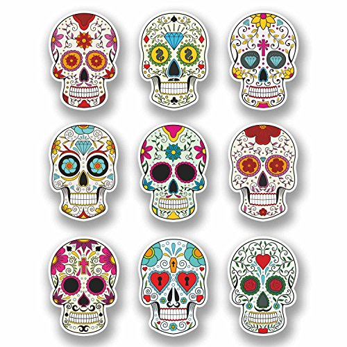 A4 Sheet 9 x Sugar Skull Vinyl Stickers Laptop Car Bike Girls...