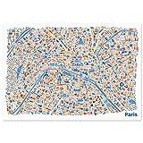 Affiche de Paris Carte illustrée (100x70cm) Plan de ville poster avec les attractions la Tour Eiffel, Louvre, Notre Dame, les Champs Elysées, le Sacré Coeur, l'Arc de Triomphe, Centre Pompidou, Musée d'Orsay et le Cimetière du Père-Lachaise