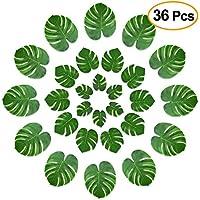 Kuuqa 36 piezas hojas de palmera tropical decoración del partido hojas de hoja verde artificial Monstera para Hawaiian Luau fiesta de Aloha Jungle Theme BBQ cumpleaños Weedding Party decoraciones de mesa suministros 3 tamaños