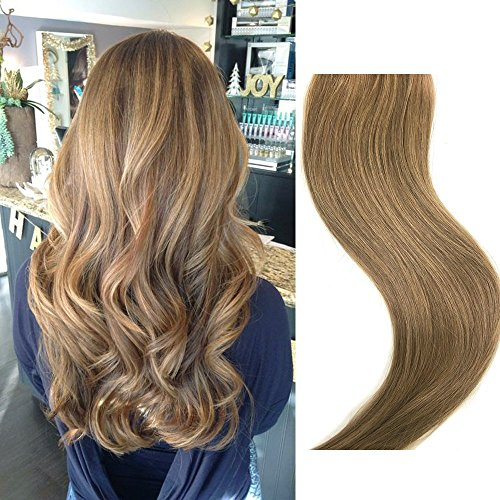 Clip In Echthaar Extensions 70g 7 Stück 15 in Silky Straight Weft Golden Brown Remy Haar