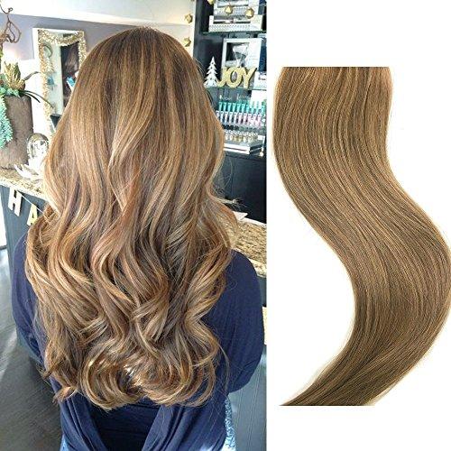 Clip In Echthaar Extensions 70g 7 Stück 18 in Silky Straight Weft Golden Brown Remy Haar
