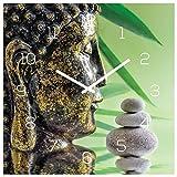 levandeo Wanduhr Glas 30x30cm Uhr Glasbild Buddha Kopf Steine Grün Wellness Wanddeko Küchenuhr