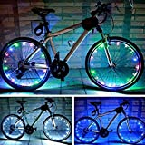 LIGHTER HOUSE 20 LEDs 2.2m Bicycle Cycling Waterproof Wheel Spokes Tire Lights Bike Front Rear Night Floodlight Gifts for Cyclists (Multi-colour)